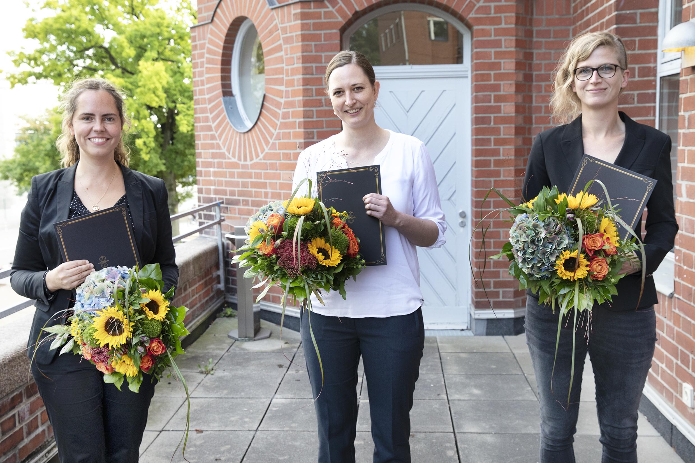 Dorothea-Erxleben-Preisträgerinnen 2021, von links nach rechts: Dr. Julia Pagel, Prof. Dr. Petra Bacher, Dr. Corinna Bang, © C. Kloodt / Exzellenzcluster PMI, Uni Kiel